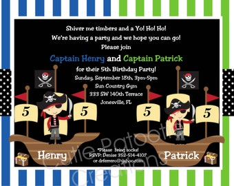 Pirate Birthday Party Invitation - Printable or Printed - Twins or Sibling Pirate Invitations - Party Supplies, Party Decorations
