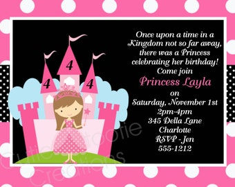 Princess Birthday Invitation, Princess Party Invitations, Printable or Printed