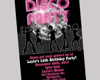 Hip Hop Disco Dance Party Invitation Disco Ball Birthday Invitations 70s Disco Dance Party Invitations Printable Digital