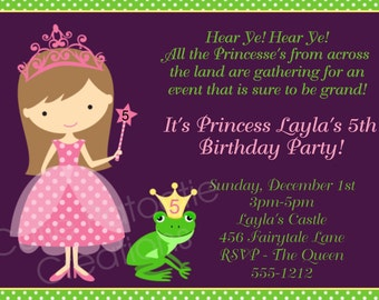 Princess Birthday Party Invitation - Printable or Printed - Pink Purple Princess Party Supplies and Birthday T-Shirt