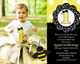 Bumble Bee Birthday Party Invitations Bumble Bee Birthday Invitation Printable and Printed