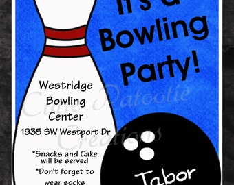 Bowling Birthday Invitation, Printable or Printed Party Invite