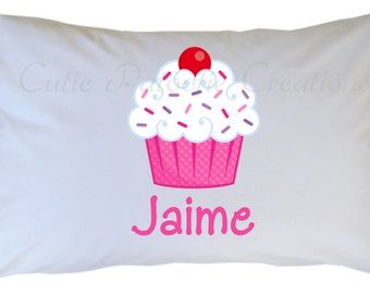 Cupcake Pillow Case, Personalized Cupcake Pillowcase, Travel or Standard Size