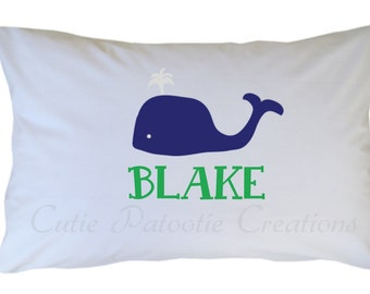 Preppy Whale Pillow Case Personalized Travel or Standard Size