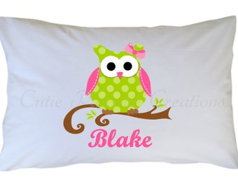Personalized Owl Pillow Case - Girl or Boy - Pink Green Blue - Travel - Standard - Toddler Size Pillowcase