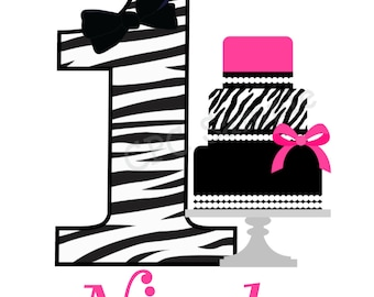 Zebra Print Birthday Cake TShirt or Bodysuit Personalized with Any Number