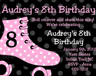 Roller Skating Birthday Invitations - Pink and Black - Printable or Printed Roller Skate Birthday Party Invite for Girls