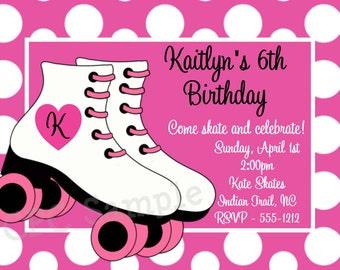 Rollerskating Birthday Invitation, Printable or Printed