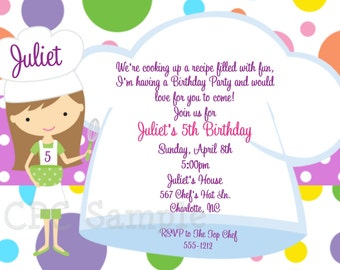 Cooking Party Invitation, Baking Birthday Invitations