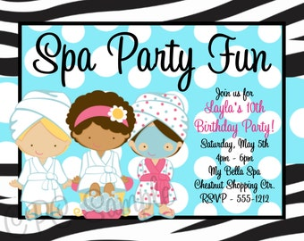 Spa Birthday Party Invitations  - Printable or Printed - Party Supplies - Mani Pedi Birthday Invitation
