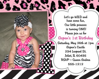 Pink Leopard Print Birthday Invitation - Printable or Printed - Animal Print 1st Birthday Party Invite - ANY AGE Available