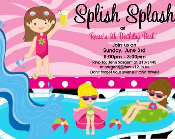 Pool Party Birthday Invitations for Girls, Boys, Twins, Siblings - Printable or Printed - Party Supplies, Party Decorations