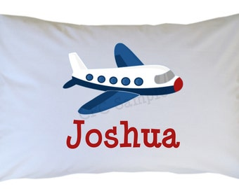 Airplane Pillow Case Personalized Travel or Standard Size for Girl or Boy - Dump Truck, Tractor, Cement Truck & Car Also Available