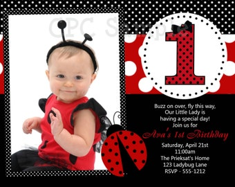 Ladybug Birthday Invitation, 1st Birthday Ladybug Party Invitations, Printable or Printed
