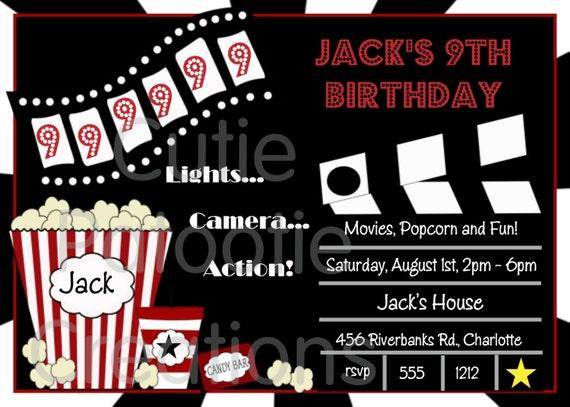 Items similar to Movie Birthday Invitation, Movie Night Party Invitations, Printable or Printed ...