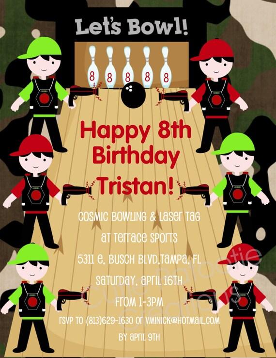 Items similar to Laser Tag Birthday Invitation Laser Tag Bowling – Laser Tag Birthday Invitations Free