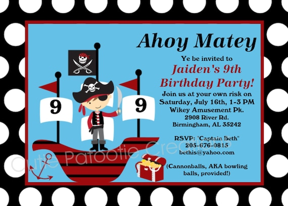 Pirate Birthday Invitation Pirate Party Invitations – Free Printable Pirate Birthday Party Invitations