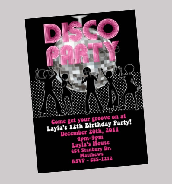 Items similar to Hip Hop Disco Dance Party Invitation Disco Ball – 70s Party Invitation