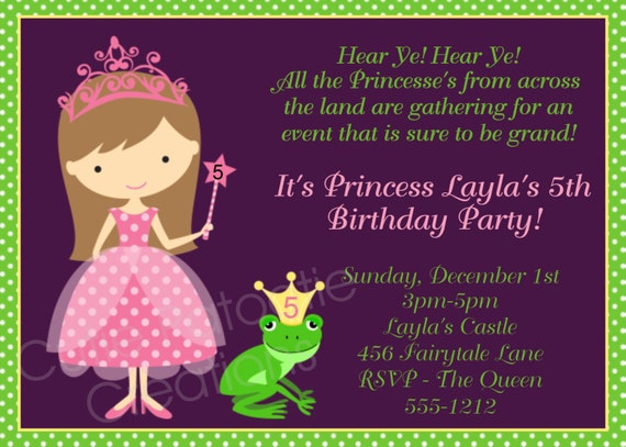 Princess Birthday Invitation - Printable Party Invite