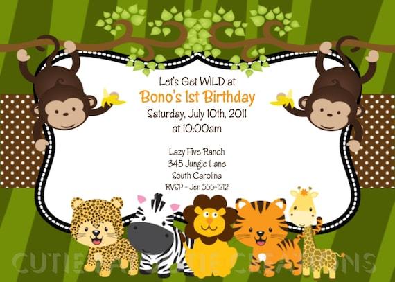 Jungle Safari Birthday Invitation Printable or Printed