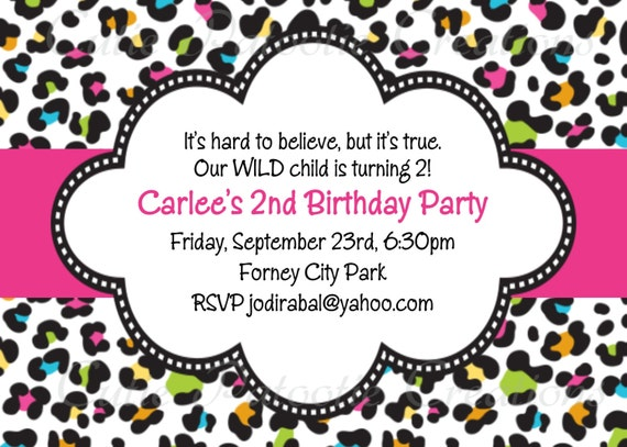Leopard Print Birthday Invitation - Printable or Printed - Leopard Print Baby Shower Invitations - Hot Pink - Turquoise - Teal Blue - Green