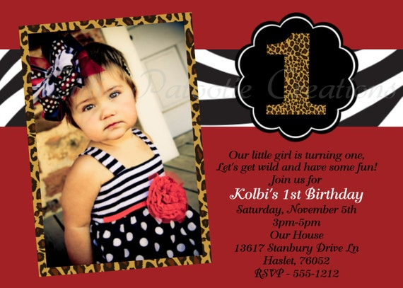 zebra leopard print birthday invitation animal print