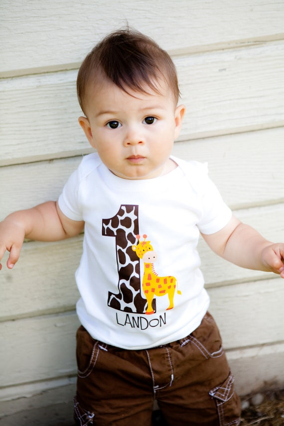 personalized giraffe birthday party number t shirt or