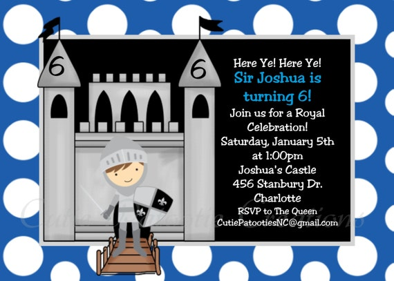 Knight Birthday Invitation - Printable or Printed - 1st Birthday Invite for Boys - ANY AGE - Knight Party Invitations