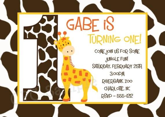 Giraffe Birthday Invitation Giraffe Birthday Party Invitations Jungle Safari Birthday Invitation Printable or Printed