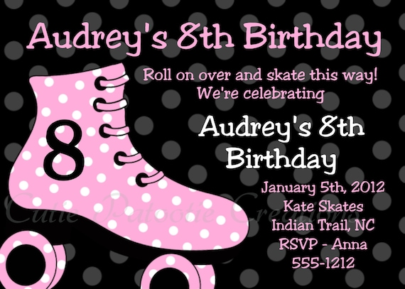 roller skating birthday invitations pink and black, Birthday invitations