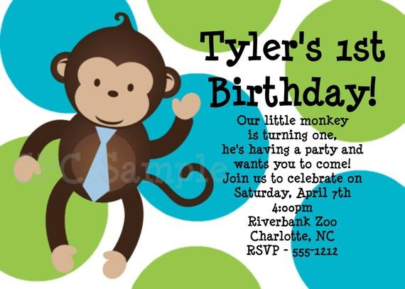 Monkey Birthday Invitation 1st Birthday Monkey Birthday – Monkey Birthday Invitations