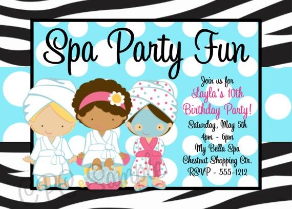 Spa Birthday Party Invitations Printable or Printed Party – Printed Party Invitations