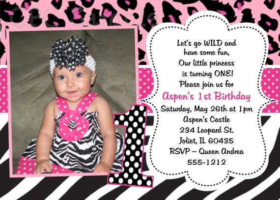 Pink Leopard Zebra Print 1st Birthday InvitationsPink Animal Print Invitations