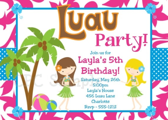 Luau Birthday Invitation, Luau Party Invitations, Printable or Printed