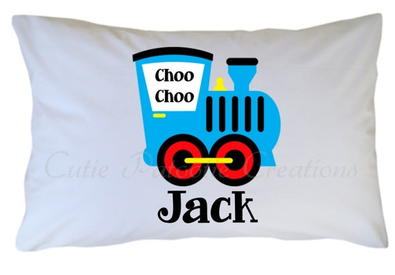 Train Pillow Case Personalized Standard or Travel Size
