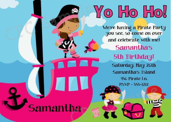 Girl Pirate Birthday Invitation Printable or Printed Party – Pirate Party Invites