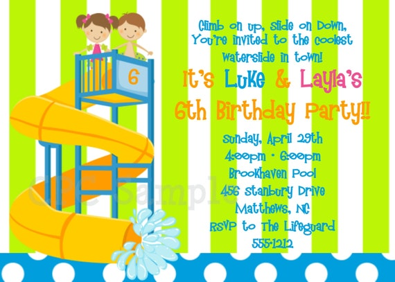 Pool Party Invitation - Printable or Printed - Water Slide Birthday Party Invitation - Water Park Party Invitations for Twins or Siblings