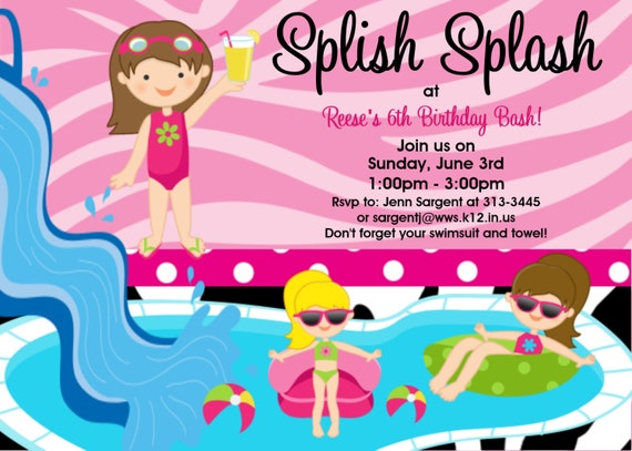 Pool Party Birthday Invitations for Girls Boys Twins – Pool Party Invitation Templates Free Printable