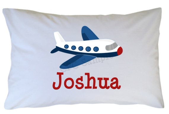 Airplane Pillow Case Personalized Travel or Standard Size