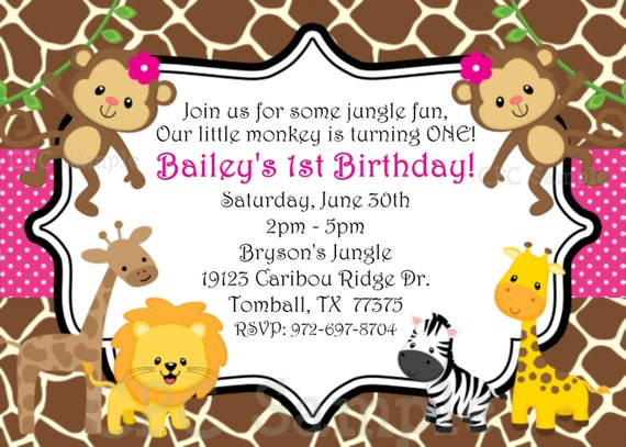 Items Similar To 1st Birthday Girl Invitation Monkey