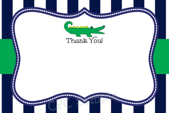 Preppy Alligator Thank You Card Boy or Girl Printable Matches Invitations and Decorations