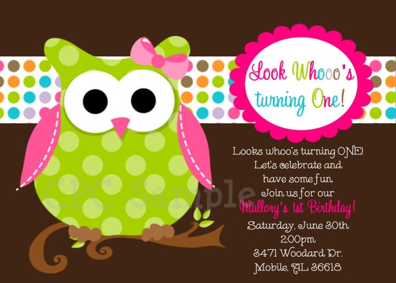 owl birthday invitations printable or printed invite, handmade owl birthday party invitations, owl 1st birthday party invitations, owl birthday invitations party city
