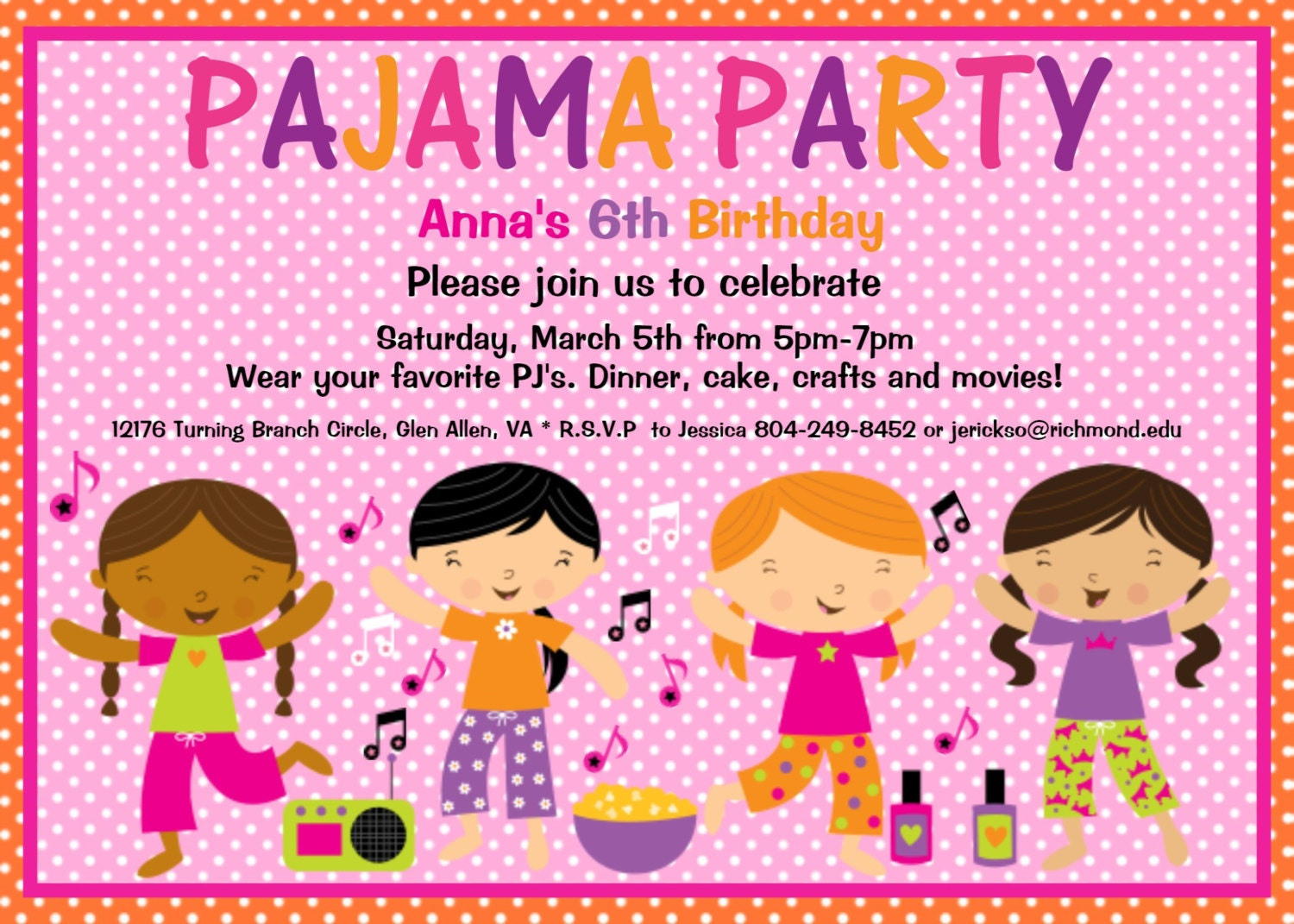 Pajama Party Birthday Invitation Sleepover Birthday – Free Printable Slumber Party Invitation Templates