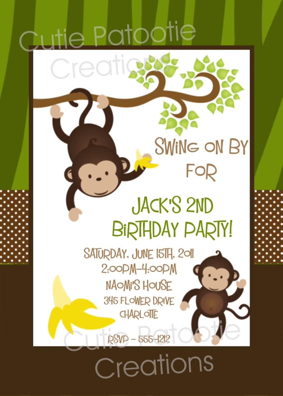 Monkey Boy Invitations with awesome invitation design