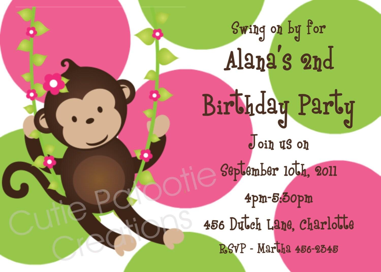 Monkey Birthday Invitation Printable or Printed Pink and – Monkey Birthday Invitations
