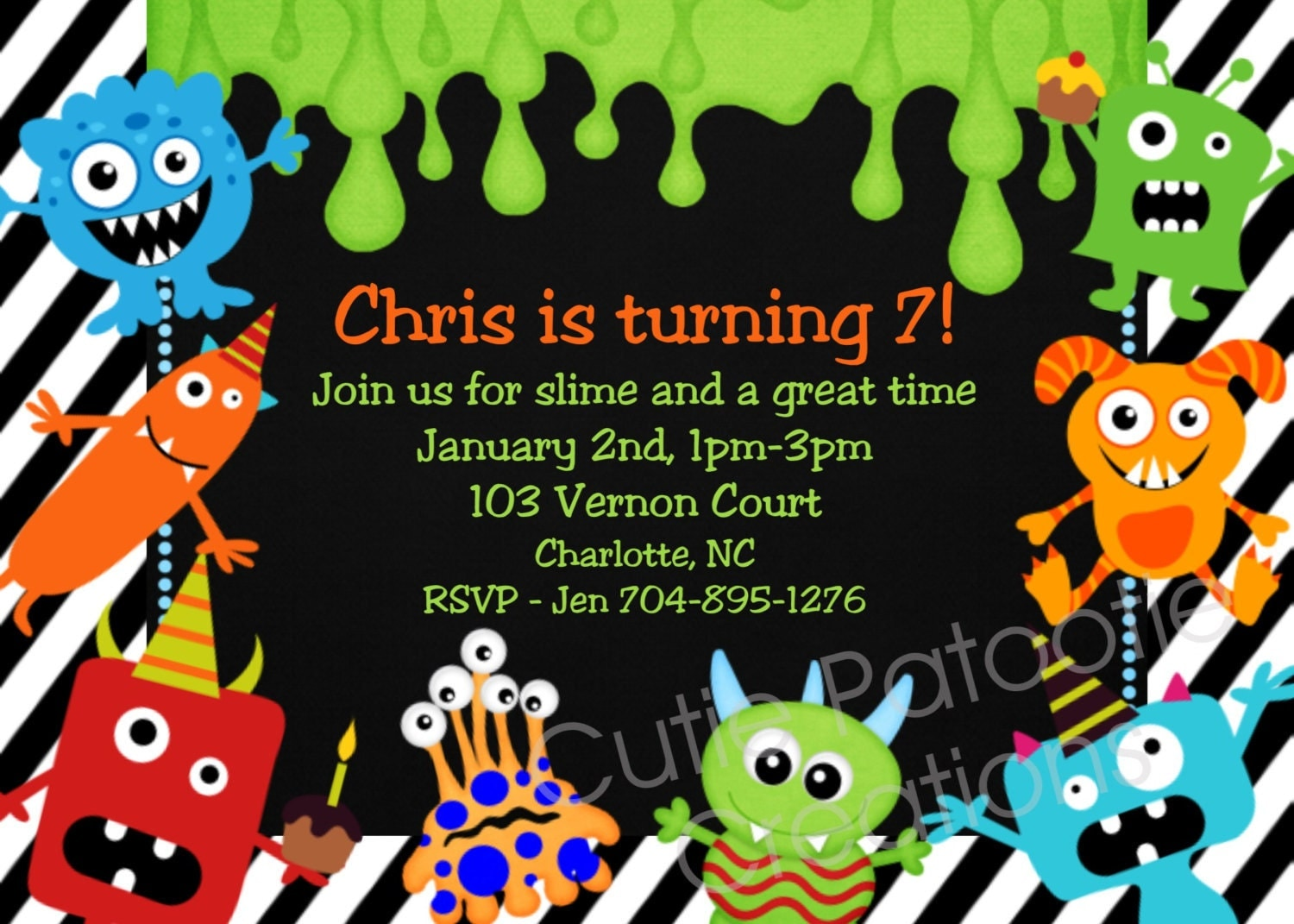 Monster Birthday Invitation 1st Birthday Monster Party – Monster Party Invites