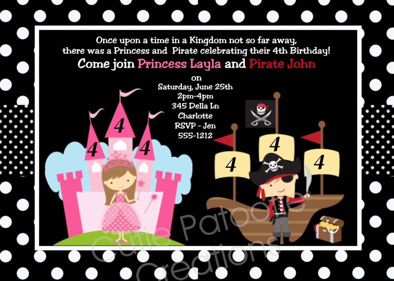 Pirate Princess Party Invitations