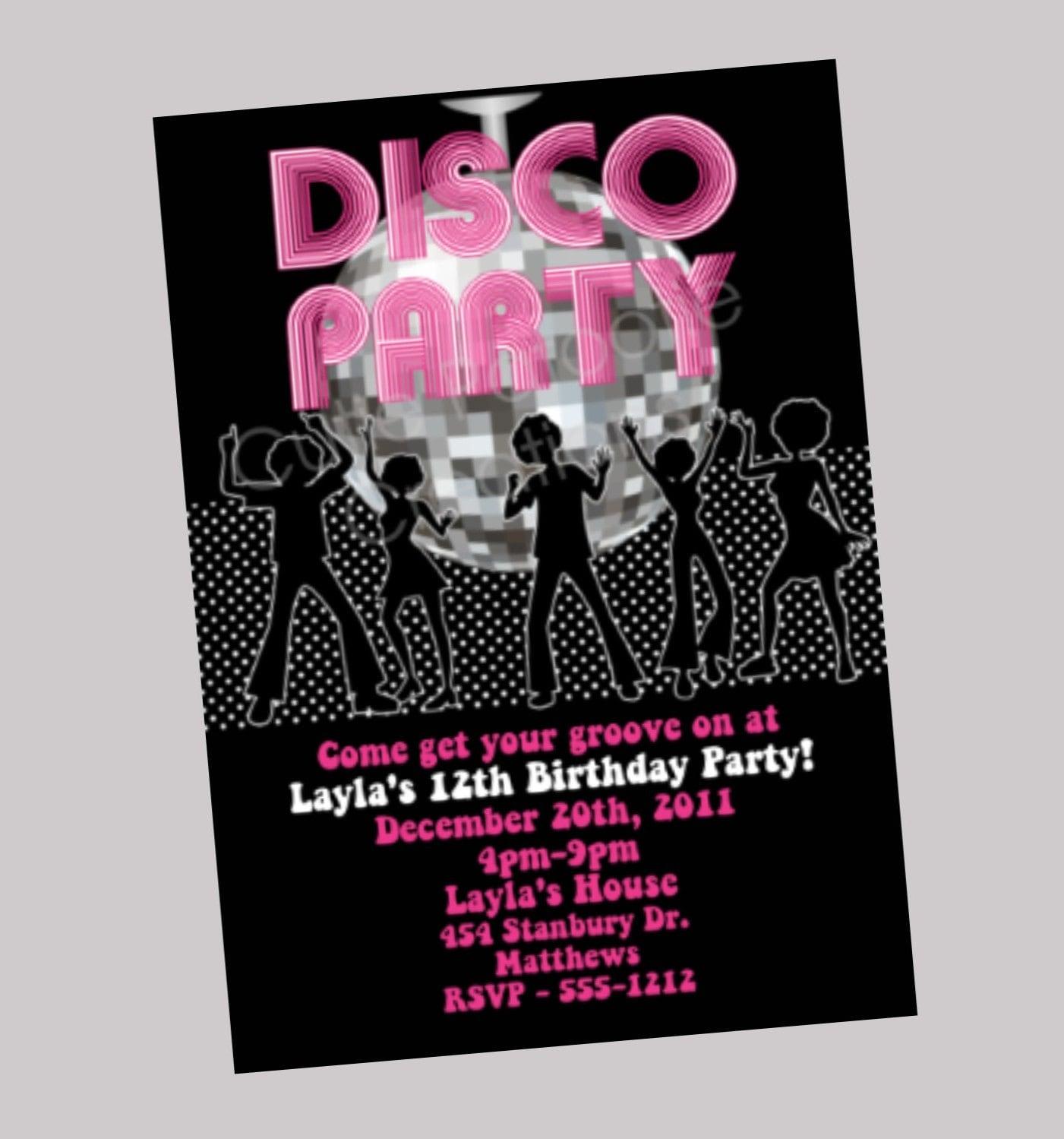 hip hop disco dance party invitation disco ball by