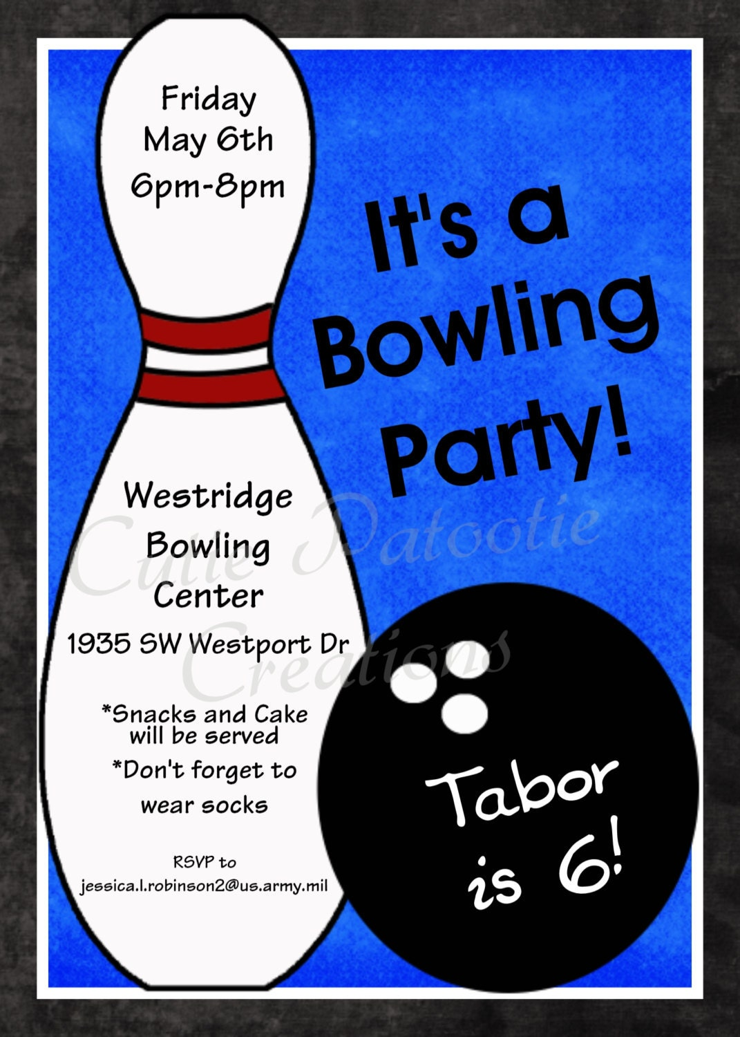 Bowling Birthday Invitation Printable or Printed Party Invite