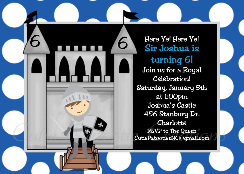 Knight Birthday Invitation Printable or Printed 1st – Knight Birthday Invitations